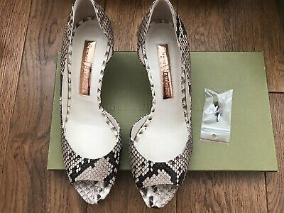 Authentic Rupert Sanderson Snakeskin Open Toes Shoes Size 37 UK 4 Brand New • 190£
