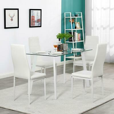 $159.59 • Buy 5 Piece Dining Table Set 4 Chairs Glass Metal Kitchen Room Breakfast White NEW