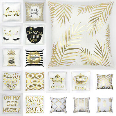UK Gold Luxury Cushion Cover Soft Throw Pillow Case Home Sofa Decor New Art 18  • 4.49£