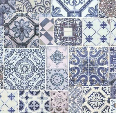 £8.99 • Buy P+S Moroccan Style Tile Effect Wallpaper Blue White Vinyl Paste The Wall