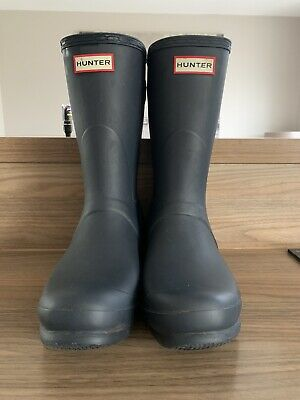 Navy Short Hunter Wellies Size 8 Adjustable Back Worn Twice, Excellent Condi • 45£