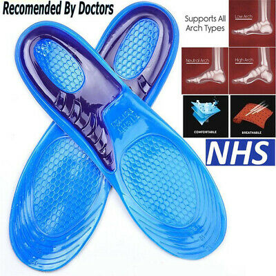 Work Boots Feet Arch Support Orthotic Absorb Shock Gel Massaging Shoe Insoles Uk • 3.19£