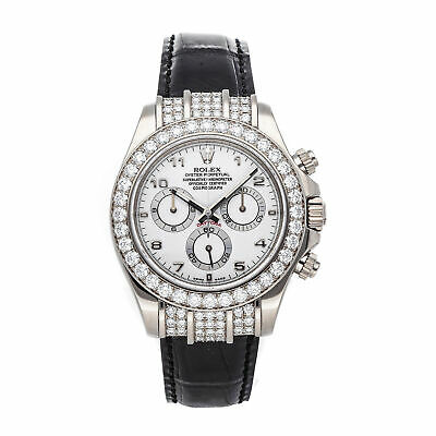 $ CDN67040 • Buy Rolex Daytona Auto 40mm White Gold Diamonds Mens Strap Watch Chrono 116599RBR