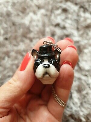 £28 • Buy And Mary Pug Dog In A Top Hat Ceramic Necklace Pendant.
