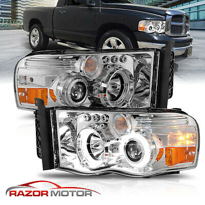 $150.66 • Buy 02-05 Dodge Ram 1500 2500 3500 LED Halo Projector Chrome Headlights Corner Lamp