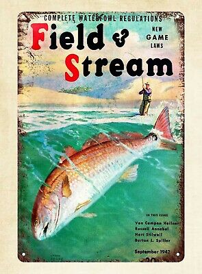 Field And Stream 1942 Fishing Metal Tin Sign Artwork Stores Plaque • 11.57£