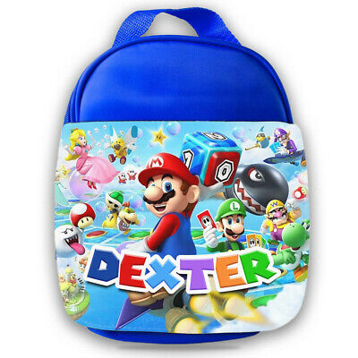 Personalised Mario Kids Blue Lunch Bag Any Name Children School Snack Box 15 • 14.99£