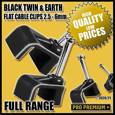 £0.99 • Buy Black Flat Plastic Cable Clips Nail Tidy Clamps Electrical Wire Cables 2.5 - 6mm