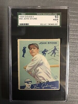 $15 • Buy 1934 Goudey John Stone Baseball Card #40  Washington Senators  SGC 1