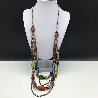 $ CDN30.32 • Buy Lia Sophia Colorful Glass Layered Beaded Long Statement Necklace Blue Green Red