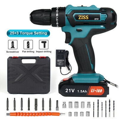 View Details 21-Volt Drill 2 Speed Electric Cordless Drill / Driver With Bits Set & Battery • 40.98$