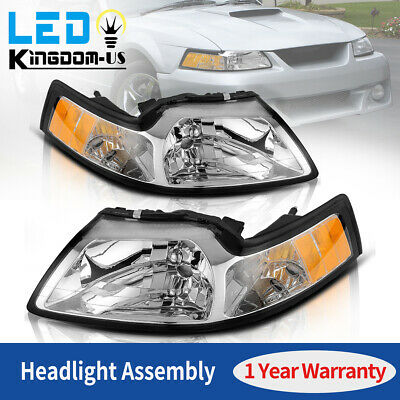 $62.51 • Buy For 1999-2004 Ford Mustang Amber Corner Signal Reflector Chrome Headlights Lamps