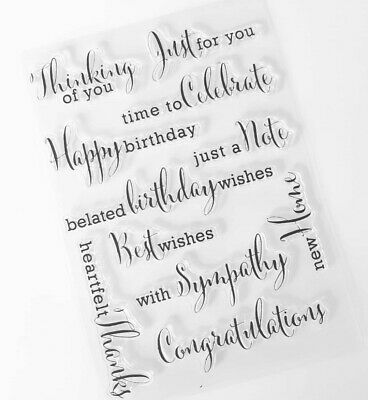 11 Sentiments Clear Rubber Stamps-transparent Greetings Stamp/thank You Words • 5.75£