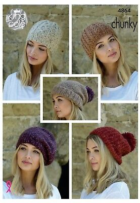 Ladies Slouchy Hats Beret Knitting Pattern 5 Designs  Chunky Yarn King Cole 4864 • 2.95£