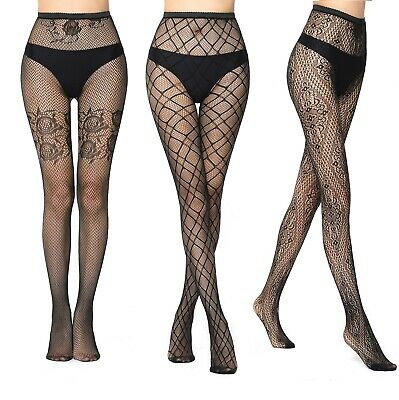 QUALITY Black Patterned Fishnet Tights Net Pattern Elasticated Lace Fashion UK • 2.99£