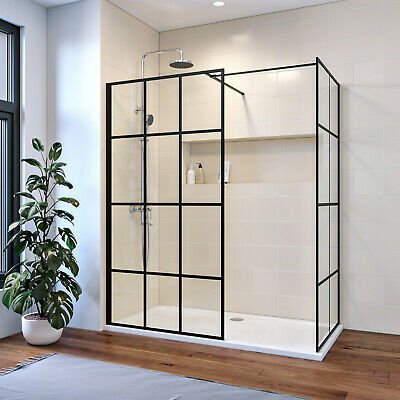 £94.99 • Buy Walk In Shower Enclosure With Shower Tray 8mm Tempered Glass Black Framed Panel