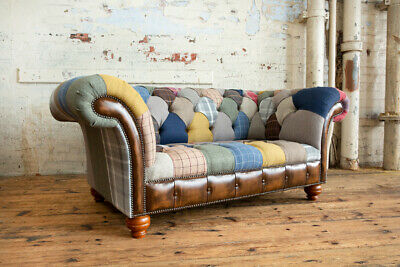 £1195 • Buy Handmade 2 Seater Multi Colour Wool & Leather Patchwork Chesterfield Sofa