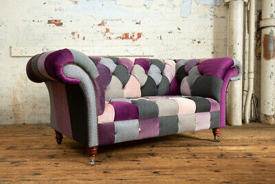 £1095 • Buy Handmade Unique 2 Seater Pink, Purple & Grey Fabric Patchwork Chesterfield Sofa
