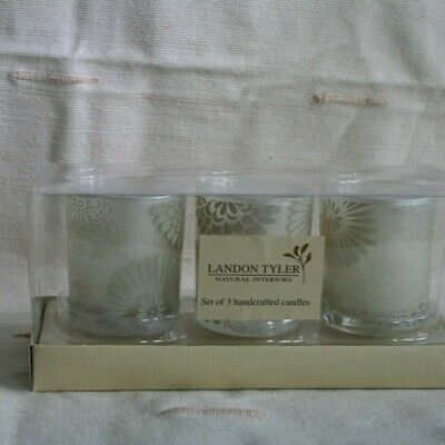 Landon Tyler - Set Of 3 Votive Candles In Decorated Glass Holders • 4.99£