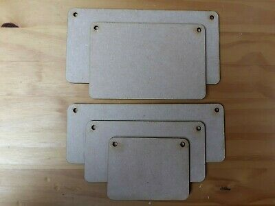 £3.99 • Buy Wooden Rectangular Plaques With 2 Holes MDF Wood Sign Craft Blank Decoration