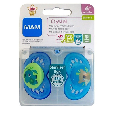 £9.95 • Buy MAM Baby Boys CRYSTAL Soother Dummy Pack Of 2 Blue Colours Age 6+ Months