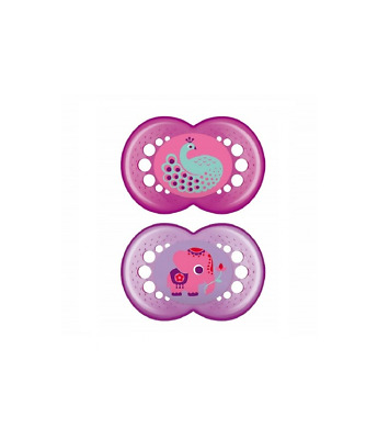 £9.95 • Buy MAM Baby Girls CRYSTAL Soother Dummy Pack Of 2 Pink Colours Age 6+ Months