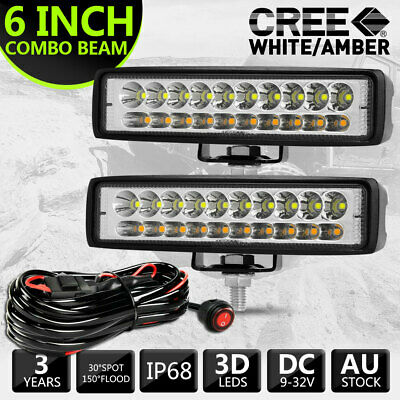 AU30.99 • Buy 2pcs 6  Inch CREE LED Light Bar Amber Work Driving Lights Offroad Reserve + Wire