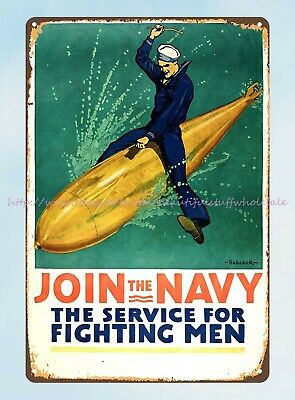 £11.38 • Buy Outdoor Art Lodge Cafes Join The Navy Service For Fighting Men 1917 WW1 Tin Sign