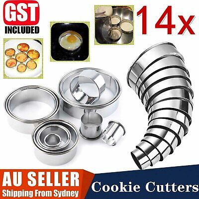 AU14.99 • Buy 14x Baking Cake Cutter Cookie Stainless Steel Round Fondant Biscuit Mold Pastry