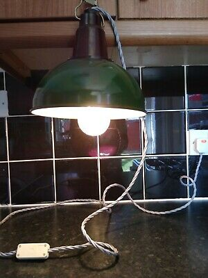£38 • Buy Vintage Industrial Green Enamel Factory Lamp Shade Light Pendant And Fittings