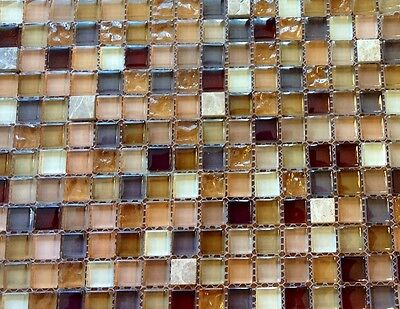 Beige Mix Natural Stone/Glass Mosaic Wall/ Floor Tiles RRP £16 (50x50mm Sample) • 0.99£