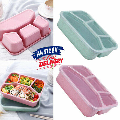 AU11.82 • Buy 4 Divided Bento  Fresh Portable  For Microwave  Fast Food Four Grid Lunch Box