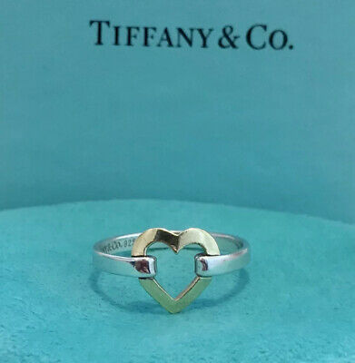 Tiffany & Co Gold & Silver Open Heart Ring US Size 8 (Uk P 1/2) • 299.99£