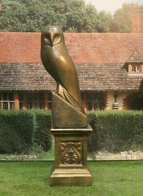 Large Bronzed Stone Garden Ornament Statue Owl And Plinth • 219.98£
