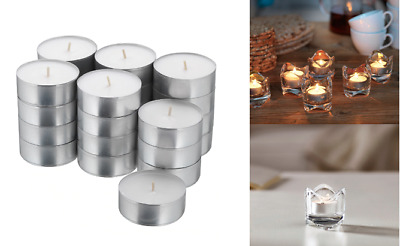 IKEA Glimma 24,48,72,96 Tea Light Candles Unscented White 59mm Wax Tealight 9 Hr • 11.89£