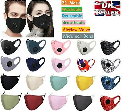 Reusable Face Mask Virus Dust Protection Washable Protective Covering Full Face • 4.99£