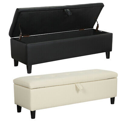 Long Chesterfield Ottoman Black/ctream Bench Seat Chair Box With Button Decorate • 78.95£