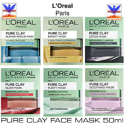 L'Oreal Paris PURE CLAY FACE MASK 50ml *BRAND NEW* • 5.89£