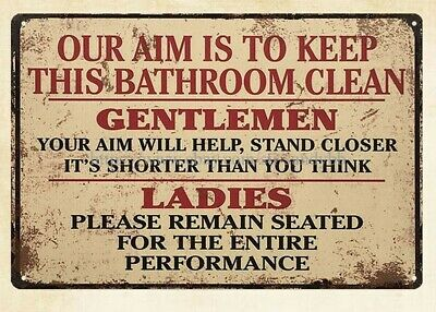 Wall Art Stores Plaque Our Aim Is To Keep This Bathroom Clean Metal Tin Sign • 11.34£