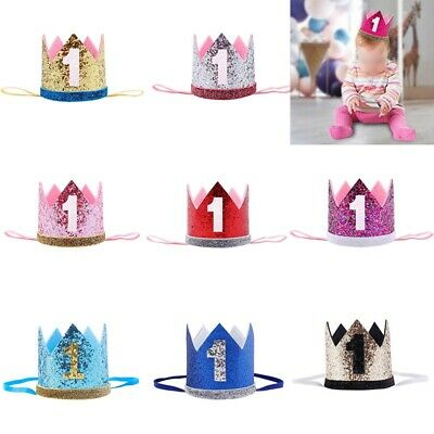 Baby Girl Boy Birthday Hat 1st Princess Crown Hair Accessories Party Decor#s^ • 4.26£