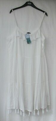 £14.50 • Buy Ladies Marks And Spencer White Beachwear Dress With Tassels Size 20