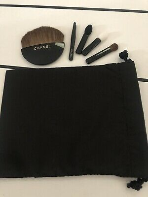 BN CHANEL Travel / Compact Brushes Set - Powder Lips Eyes Tweezers Pouch • 19.99£