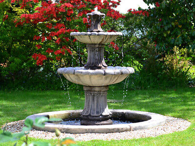 Outdoor Stone Water Feature Fountain 2 Tiered Garden Ornament Statue • 666.60£