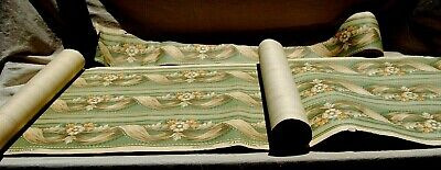 2 Rolls & 1 Trim Antique Wallpaper Walcrest Union Made 1940-50s Floral Blue Grey • 37.51£