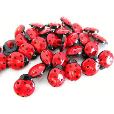 50 Pack Of Red/Black 1-Hole Ladybird Buttons Sewing DIY Craft Embellishment Bug • 1.59£