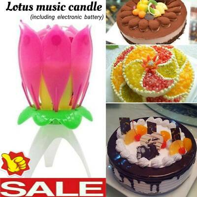 $ CDN3.03 • Buy 1pc Magic Cake Birthday Lotus Flower Candle Blossom Musical Rotating Decoration