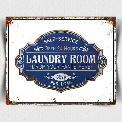 METAL SIGN PLAQUE Funny Laundry Room Washing Clothes Launderette Open 24 Hours • 4.45£
