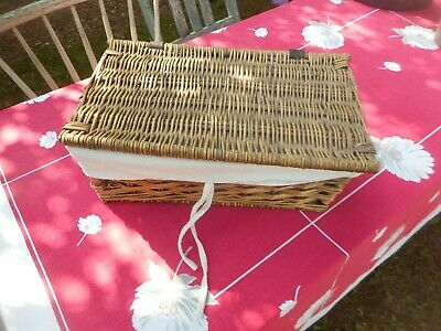 £10 • Buy Old Wicker Basket With Liner.  16 10 7 Inches.