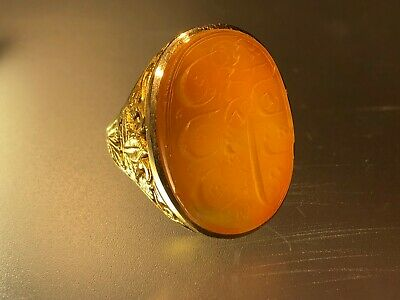 $ CDN4757.63 • Buy Antique Islamic Qajar Hand Engraved Solid 14 K Gold Agate Men Signet Ring Dated