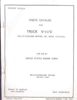 $138.05 • Buy V-35/U Jeep Parts List Book Very Rare Marine Corps (M38) Willys Jeeps 1950